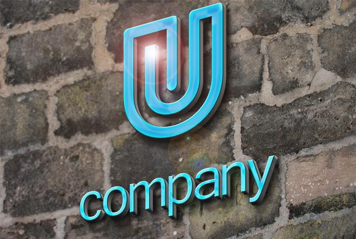3d logo mockup free download psd